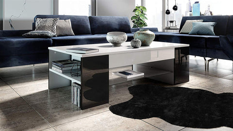"Open Box - Coffee Table ""Clip"" in White / Black High Gloss"