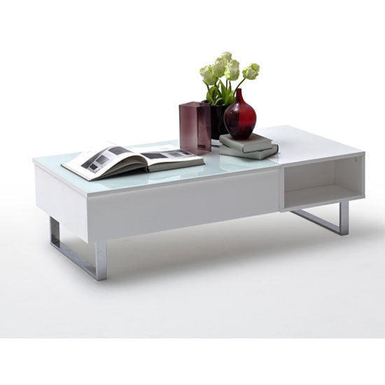 """Florence Lift Up Storage White Gloss Coffee Table: Coffee Table """"Joe"""" In White High Gloss With Glass Lift Top"""
