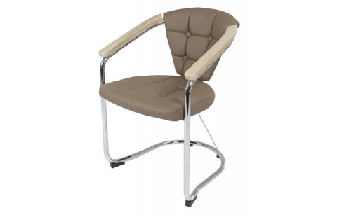 "Dining Chair ""Maren"" in Latte PU Leaher"