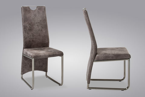 "Dining Chair ""Manu"" in Grey Fabric"