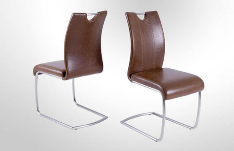 "Dining Chair ""Sven"" in Vintage Brown PU Leather"