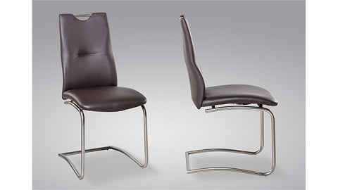 "Dining Chair ""Tina"" in Brown PU Leather"