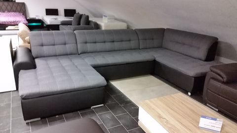 "U-Shape Sectional ""Edard"" in Black PU Leather and Grey Fabric + Bed Function/Ottoman"