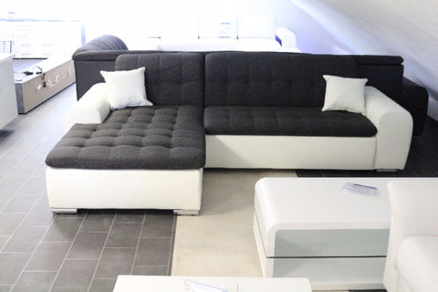 "Sectional ""Edard"" in White PU Leather and Black Fabric + Bed Function/Ottoman"