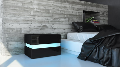 "Nightstand ""Flow"" in Black High Gloss"