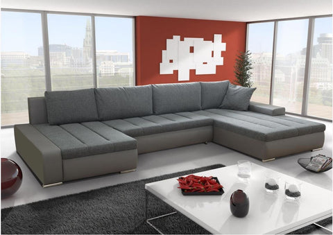 "U-Shape Sectional ""Boston"" in Grey PU Leather / Grey Fabric + Bed Function/Storage"