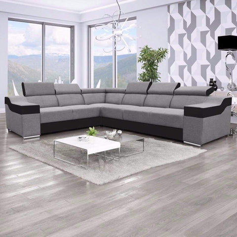 "Sectional ""Ewa II"" in Grey / Black"