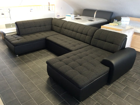 "U-Shape Sectional ""Edard"" in Black PU Leather and Black Fabric + Bed Function/Ottoman"