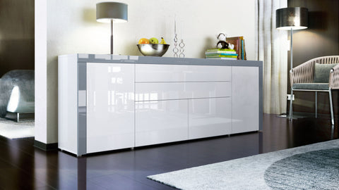 "Open Box - Sideboard ""La Paz V2 "" in White High Gloss / Grey High Gloss"