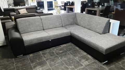 "Sectional ""Mila"" in Black PU Leather / Grey Fabric + Bed Function"
