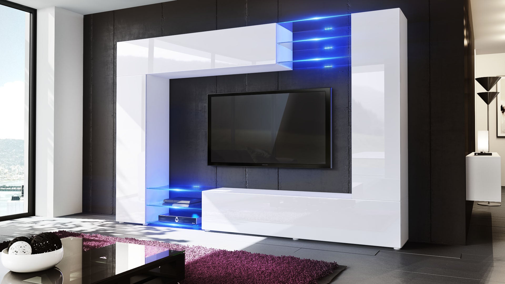 Wall Unit Mirage With White Body Various Front Colors