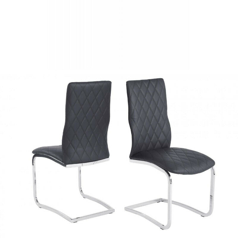 Dining Chair Moritz in Grey PU Leather