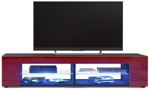 "OPEN BOX - TV Stand ""Movie"" in Black Matt / Bordeaux High Gloss"