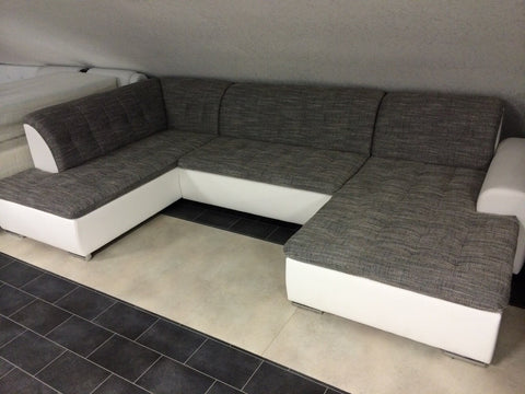 "U-Shape Sectional ""Edard"" in White PU Leather / Grey Fabric + Bed Function/Ottoman"