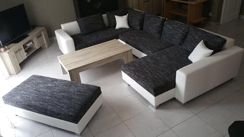 "U-Shape Sectional ""Olga"" in White PU Leather and Black Fabric + Ottoman"