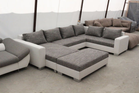 "U-Shape Sectional ""Olga"" in White PU Leather and Grey Fabric + Ottoman"