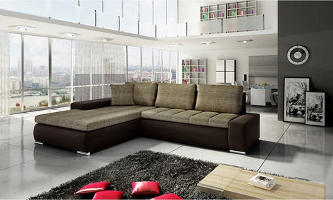 "Sectional ""Orkana"" in Brown PU Leather / Cappuccino Fabric"
