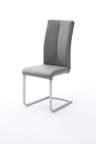 "Dining Chair ""Paulo II"" in Grey PU Leather"