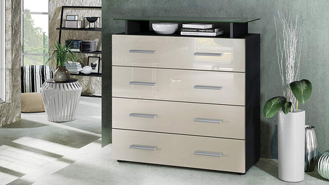 "OPEN BOX - Storage Cabinet ""Pavos V2"" in Black MT / Creme High Gloss"