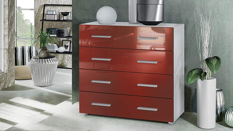 "OPEN BOX - Storage Cabinet ""Pavos"" in White Matt / Bordeaux High Gloss"