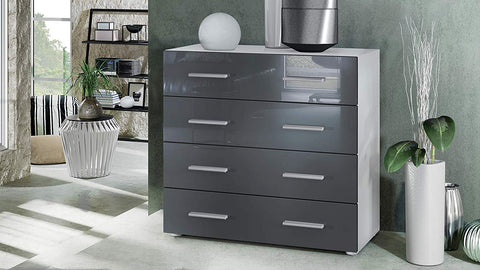 "OPEN BOX - Storage Cabinet ""Pavos"" in White Matt / Grey High Gloss"