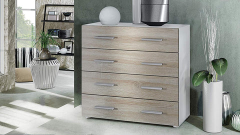 "OPEN BOX - Storage Cabinet ""Pavos"" in White Matt / Rough Sawn Oak"