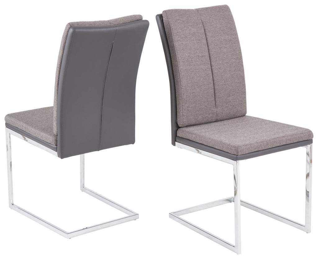 "Dining Chair ""Vanessa"" in Grey PU / Grey Fabric"