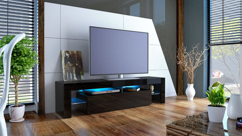 "TV Stand ""Lima"" - Black High Gloss /  Various Color Fronts"