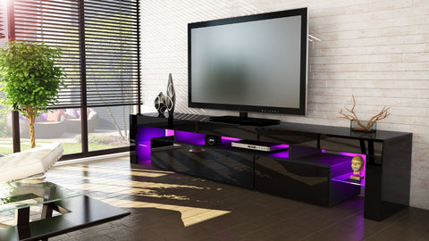 "TV Stand ""Lima V2"" - Black High Gloss /  Various Color Fronts"