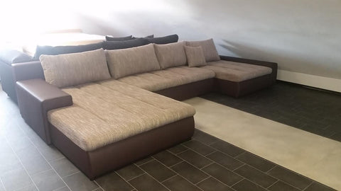 "U-Shape Sectional ""Boston"" in Brown PU Leather / Cappuccino Fabric + Bed Function/Storage"