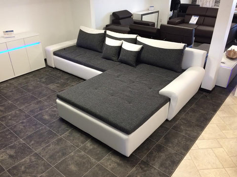 "Sectional ""London"" in White PU Leather / Black Fabric"