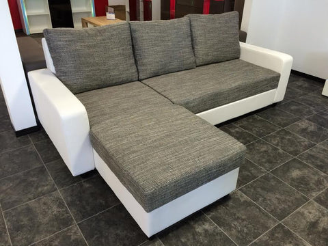 "Sectional ""Lussy"" in White PU Leather / Grey Fabric + Bed Function/Ottoman"