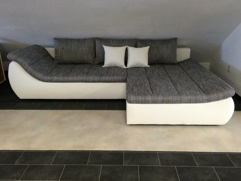 "Sectional ""Onda"" in White PU Leather / Grey Fabric"