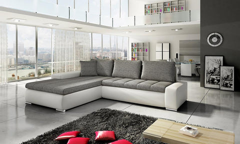 "Sectional ""Orkana"" in White PU Leather / Grey Fabric"