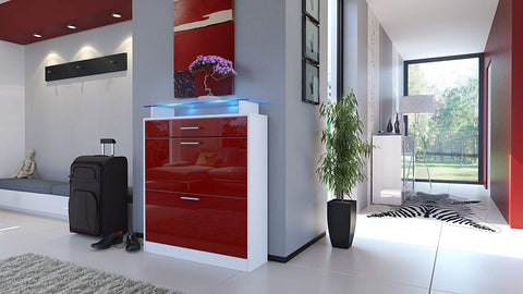 "OPEN BOX - Shoe Cabinet ""Loret"" in White / Red Bordeaux High Gloss"