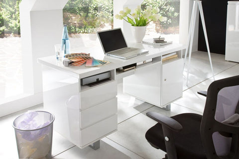 "Office Desk ""Sydney"" in White High Gloss"