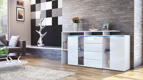 "Sideboard ""Lissabon"" in White Matt / Different Front Colors"