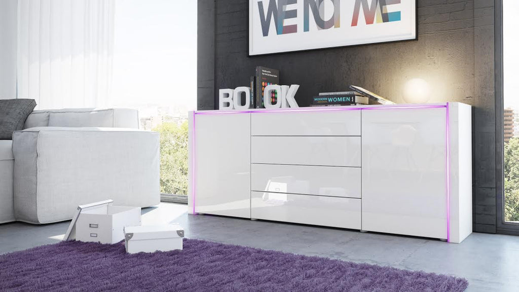 "Sideboard ""Marino V2"" in White High Gloss"
