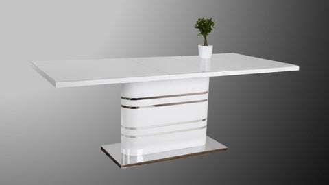 "Dining Table ""Sydney"" in White High Gloss - Extendable"