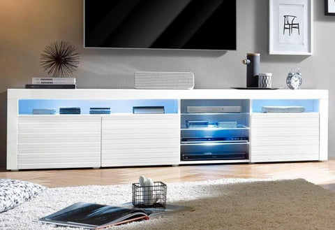 "TV Stand ""Odessa V2 "" in White High Gloss / White 3D Doors"