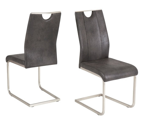 "Dining Chair ""Trieste"" in Dark Grey Microfiber"