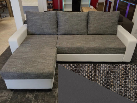"Sectional ""Lussy"" in Grey PU Leather / Grey Fabric + Bed Function/Ottoman"