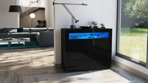 "Storage Unit ""Valencia"" - in Black High Gloss / Various Colors"