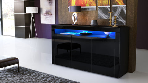 "OPEN BOX - Sideboard ""Valencia"" in Black MT / Black High Gloss"