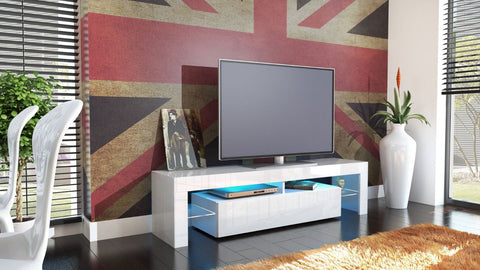 "TV Stand ""Lima"" - White High Gloss /  Various Color Fronts"