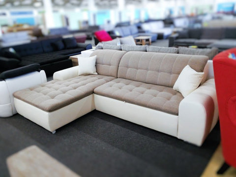 "Sectional ""Edard"" in White PU Leather and Beige Fabric + Bed Function/Ottoman"