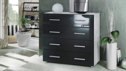 "OPEN BOX - Storage Cabinet ""Pavos"" in White Matt / Black High Gloss"