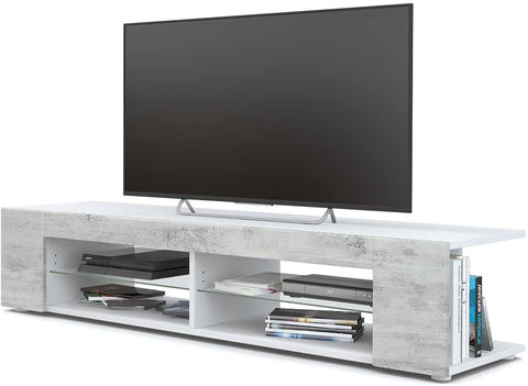 "OPEN BOX - TV Stand ""Movie"" in White Matt / Concrete Design"