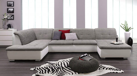 "U-Shape Sectional ""Rosa"" in White PU Leather & Grey Fabric"