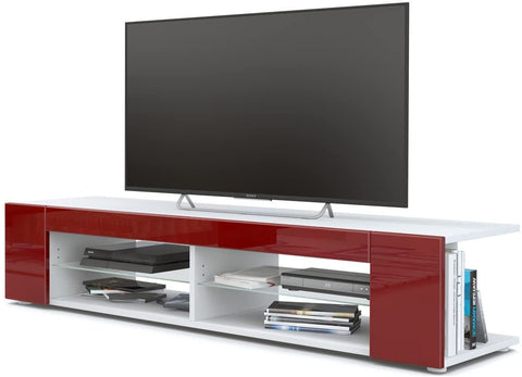 "OPEN BOX - TV Stand ""Movie"" in White Matt / Red High Gloss"